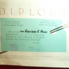 Diploma de participare A Va Expozitie Bienala Arta Plastica 1969