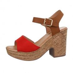 Sandale bicolore, cu toc si platforma foto