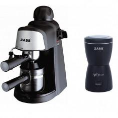 Pachet espressor cu rasnita Zass, 80 g, 800 W, negru