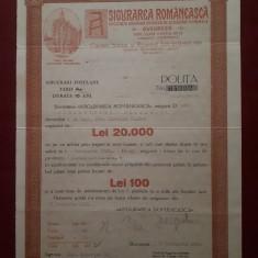 """Polita de asigurare """" Asigurarea romaneasca """" - 1934"""