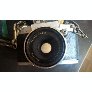 Aparat foto film 35mm Exa 1a + obiectiv Carl Zeiss Tessar 2.8/50