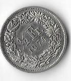 Moneda 1/2 franc 1974 - Elvetia, Europa