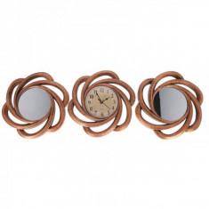 Set Ceas de Perete cu Doua Oglinzi Decorative Grunberg KLJ2930 Bronz