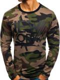 Cumpara ieftin Bluză fără glugă cu imprimeu pentru bărbat camuflaj-kaki Bolf 0742