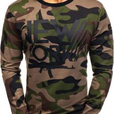 Bluză fără glugă cu imprimeu pentru bărbat camuflaj-kaki Bolf 0742