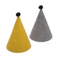 Coifuri de petrecere 16 cm auriu/ negru cu sclipici si ciucure, Radar 45508, set 6 bucati