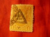 Timbru Peru 1883 - , val.1C supratipar triunghi Peru , stampilat