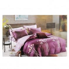 Lenjerie pat dublă, bumbac satinat, 4 piese, model purple