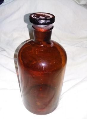 Sticla veche farmacie,laborator,sticla farmaceutica veche cu dop,22 cm,T.GRATUIT foto
