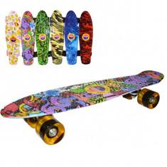 Placa skateboard, roti silicon, led, Grafitti