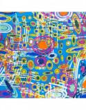 Batic dama matase naturala Pami abstract art, 90x90 cm, albastru