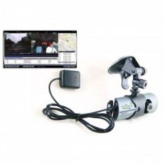 Camera video auto DVR, 2 camere, GPS, software vizualizare harta + film, card memorie 32 GB si cititor card USB inlcuse, ideal pentru examenele auto s