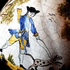 Halba bere  veche  datata 1807 faianta ceramica pictata capac