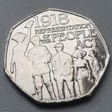 Monedă 50 pence 2018 Marea Britanie , People Act, Europa