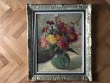 Tablou,pictura germana in ulei pe lemn,vaza cu flori,semnata, Altul