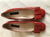 Pantofi de dama, piele lacuita, rosu-caramiziu, 38, noi, 37.5, Cu toc