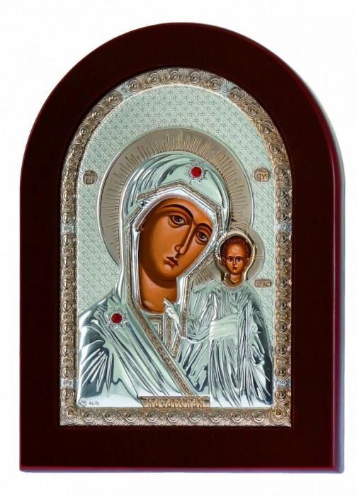 Icoana Maica Domnului Kazanskaya Foita Argint 925 Auriu 7.5x9.5cm Cod Produs 2002
