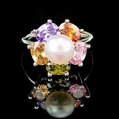 Inel din Argint 925 cu Perla Naturala si Diamante, Flower