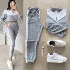 Cumpara ieftin Trening dama lung gri cu alb cu pantaloni lungi si bluza cu maneca lunga fashion