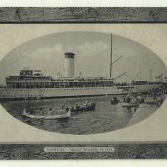 Cp Constanta : Vaporul Romania in Port - circulata 1911, Fotografie