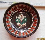 Farfurie decorativa din lut smaltuit.Ceramica de olarie.Vintage.