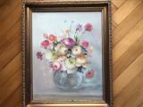 Tablou,pictura germana in ulei pe panza,vaza cu flori, Altul