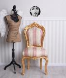 Scaun din lemn masiv auriu si tapiterie roz cu crem   CAT530A38A, Scaune, Baroc