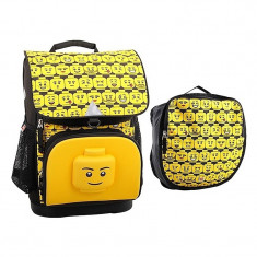 Ghiozdan scoala Optimo + sac sport, Lego Core Line - Minifigures Heads