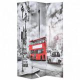 Paravan cameră pliabil, 120x170 cm, autobuz londonez, negru/alb, vidaXL