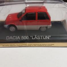 macheta dacia 500 lastun + revista masini de legenda nr.35 - 1/43, noua.