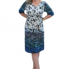 Rochie casual masura mare, model animal-print nuanta albastra