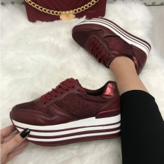 Adidasi dama rosii cu platforma marime 36, 37, 38, 39, 40, 41+CADOU