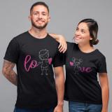 """Cumpara ieftin Set tricouri personalizate cuplu """"Love"""" (Culoare: Alb, Marime tricou barbat:..."""