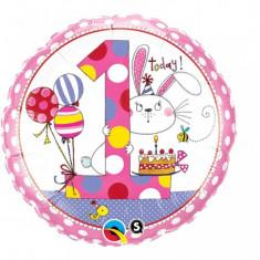 Balon 1 an fetita din folie cu iepuras 43 cm