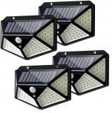 Cumpara ieftin Set 4 Lampi solara pentru exterior 100 LED-duri cu senzor de miscare cu Bricheta glont si mini lanterna cu incarcare USB