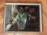 Pictura,tablou german,in ulei pe panza,vaa cu flori,rama din lemn, Altul