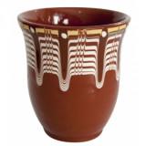 Cana ceramica, lut maro cu model rustic, fara toarta, 250 ml, 016319