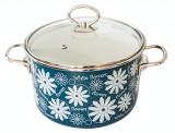 Oala emailata ruseasca cu flori albastra 5,5 L capac sticla MN012982 VITROSS