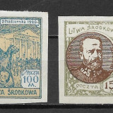 Central Lituania 1921, serie completa, Nestampilat