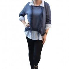 Bluza tricotata chic, de culoare bleumarin, cu maneci trei-sferturi