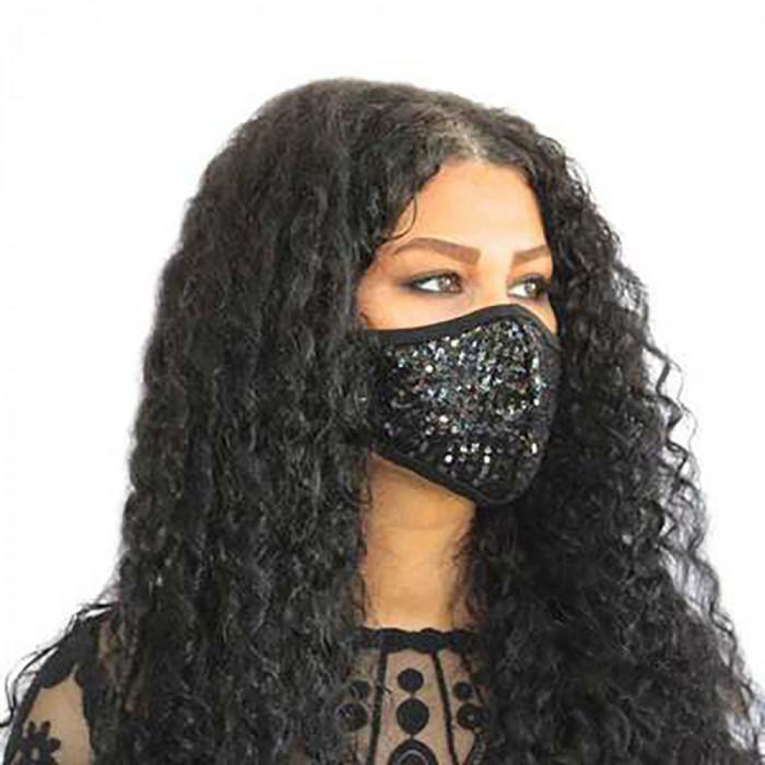 Masca de protectie fata neagra cu paiete fashion