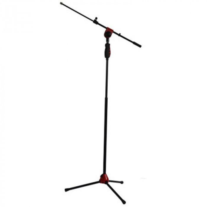 Suport de microfon SM006RE, reglabil, telescopic, 115-170 cm, rosu