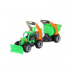 Tractor cu plug si remorca-bazin - GripTrac, 51x14x20 cm, Wader