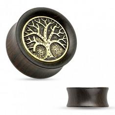 Tunel pentru ureche realizat din lemn de abanos, copac gravat , patină neagră - Lățime: 16 mm