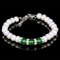 Bratara cu Perle Naturale si Argint 925, Agata Green