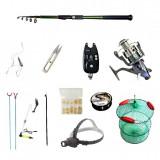 Cumpara ieftin Set pescuit sportiv cu lanseta carbon 3,6m cool angel, mulineta baitrunner bobo2000, senzor, lanterna si acces