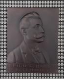 Placheta Spiru Haret 1911 - Patina - Romania - medalie - Scoala