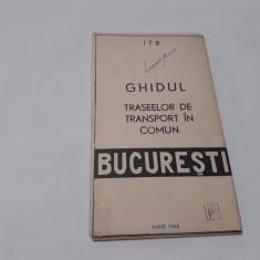 Ghidul traseelor de transport în comun 1966  BUCURESTI  RF17/1