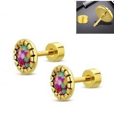 Cercei aurii din oțel, floare colorată, clemă cu șurub
