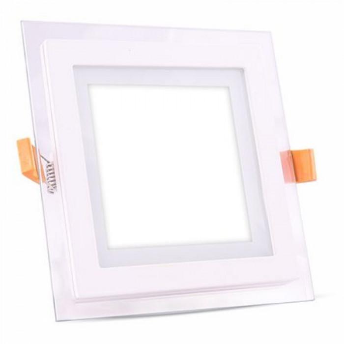 Aplice LED patrata incorporabila, 18 W, temperatura culoare alb neutru, sticla